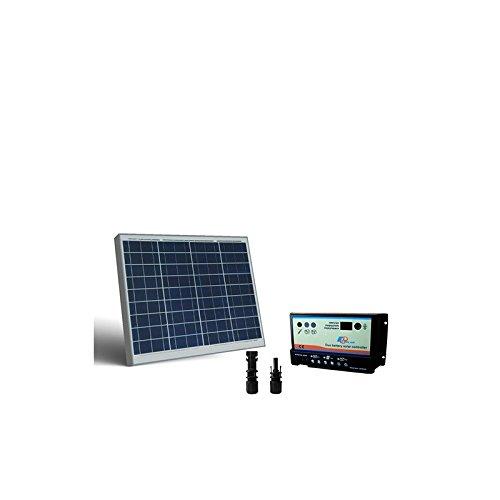 PuntoEnergia Italia - Kit Solare Camper 50W 12V Pannello Fotovoltaico, regolatore per due Batterie - KCLI-50