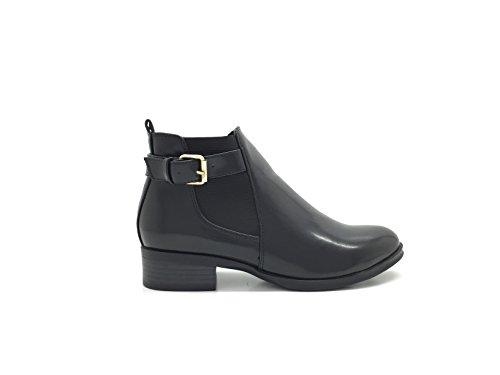 CHIC NANA Chaussure femme bottine low boots richelieu style similicuir, élastique et bride cheville.
