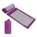 Kit Tapis d'acupression 66x42cm avec Oreiller Portatifs 40x15 et Un Sac Tapis Yantra masseur/tapis de fleurs - tapis acupression pour soulager les problèmes de dos (Violet)