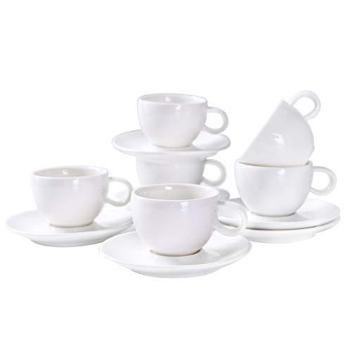 Yolife Potbellied Espresso Tassen und Untertassen, Porzellan weiß Demitasse Cups-3oz Cup-Set von 6mit Geschenk verpackt - Demitasse Cup
