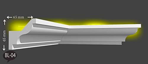 2m Indirekte LED Beleuchtung Zierprofile Stuckleisten Styropor Bordüre Dekor 65mmx65mm BL04