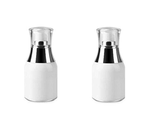 Upstore Vakuumflasche, Acryl, Airless-Pumpe, Vakuumflasche, Make-up, Augencreme, Lotion, Emulsion, Toiletries Flüssigkeitsbehälter, Weiß, 2 Stück, weiß, 30ml/1oz - Acryl-emulsion