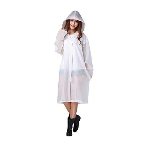 FakeFace Brand Women's Raincoat Long Sleeves with Hood EVA Translucent Waterproof Plain Colour Rain Jacket Long Hooded Rainwear Ladies Showerproof Mac with Pouch for Women, XL, White