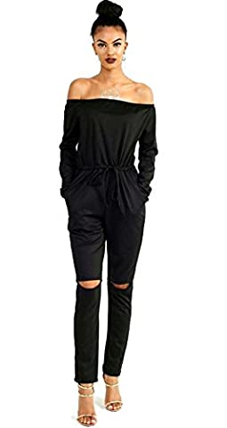 ALAIX Women's off-Shoulder Bodycon Knee Hole Pants Party Club Jumpsuits Rompers-Black-S