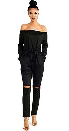 ALAIX Donna fuori-spalla di pantaloni Hole aderente al ginocchio partito Club delle tute i pagliaccetti Nero-S