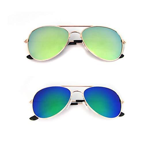 Mangotree 2 Paar Unisex Kinder/Erwachsener Sonnenbrille Hippie Kleine Linse Runde Sonnenbrille UV Schutz Mode Retro Hipster Brillen (Einheitsgröße, B#Kinder (Gold + Grün))