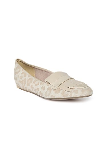 Clarks Women Beige Animal Print Suede Flat Shoes