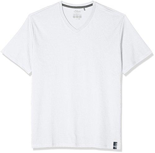 s.Oliver Herren T-Shirt 15.802.32.3227, Weiß (White 0100), XXXX-Large (Herstellergröße: XXXXX-Large)