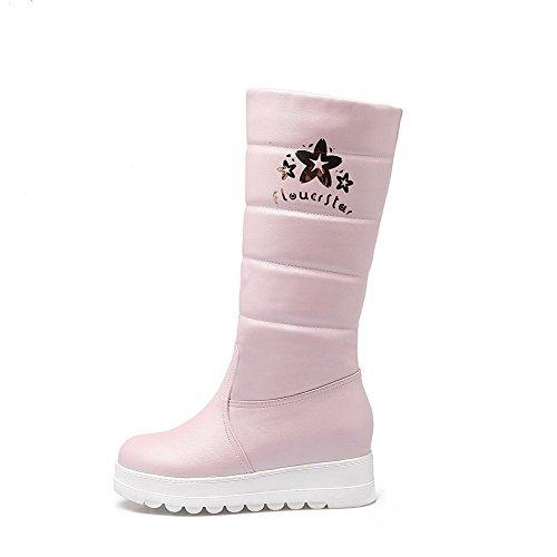 AllhqFashion Damen Weiches Material Rund Zehe Rein Mitte-Spitze Mittler Absatz Stiefel Pink