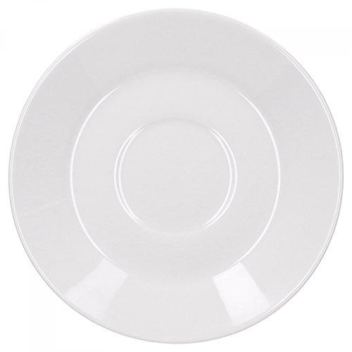 Van Well Trend Kaffeeuntertasse, flach Ø 150 mm, Hochwertiges Markenporzellan, Porzellangeschirr, Untertasse, klassisch weiß, Hotelporzellan, Gastronomie, Catering