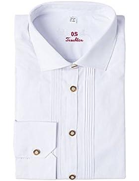 OS Trachten Herren Trachtenhemd Langarm Weiß Erwin 002820 - Slimfit