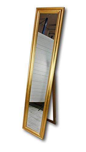 180x40cm Standspiegel groß antik mit Patina   Spiegel mit Fuß barock aus Holz   im Landhausstil...