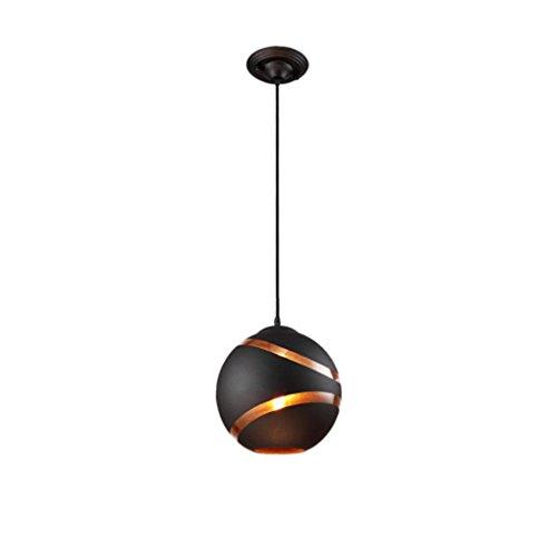 Moderne industrielle innovante Suspension Noir Boule en métal fer Suspension Lampes verre Parasol personnalité mode Art Deco Hauteur réglable Lampe suspension E27Ø 25cm 40W max étude Loft