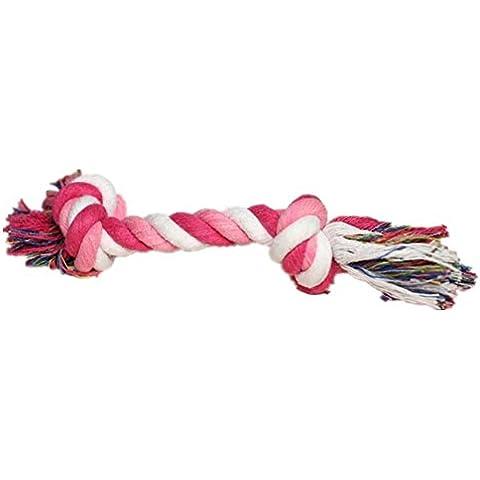 corda giocattoli del cane corda intrecciata di cotone è durevole per masticare divertimento pulizia dei denti giocattoli da compagnia 17cm 5pcs colore casuale