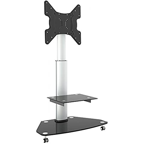 RICOO Estante TV LED pie de vidrio Soporte inclinable FS0200 giratorio rotable con rueda ajustable en altura Estante television LED pantalla plana mueble estante VESA 400x400 Universal con portaobjeto para