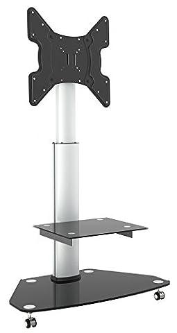 RICOO Meuble TV Roulettes Support sur pied en verre inclinable FS0200 orientable tournant avec roulettes réglable en hauteur TV LED écran plat meuble rack VESA 400x400 universel rack de dépose en verre incl.