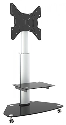 RICOO Rolling TV Stand Holder FS0200 TV stand Pendant Arm Tilt and Swivel Supports 3D OLED LED Plasma LCD 4K Curved VESA 400x400 Universal for TV Black