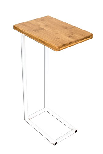 bonVIVO® Table d'appoint Donna Moderne - Acier Inoxydable et Bois Naturel avec châssis en Acier Inoxydable Blanc