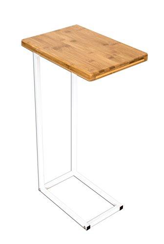 bonvivo® Garde–Mesa de centro Donna, mesa auxiliar en moderno de acero inoxidable madera natural Combinación con estructura de acero en color blanco