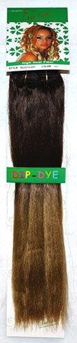 1st Lady® Fashion omber 45,7 cm droite avec pointes couleur fibre synthétique haute chaleur tête complète (8) Clip en Extensions de cheveux (Marron chocolat foncé à Blond Miel Fraise) # 4/27 120 g