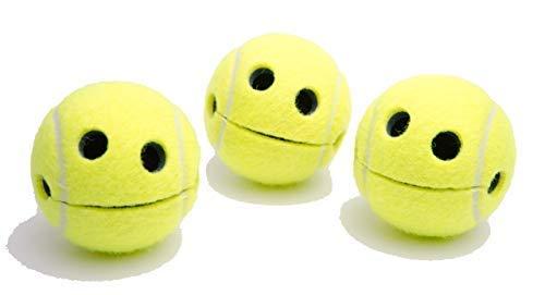 PIGALLUME 3er Set Smile Happy Tennisball mit hochwertigem Saugnapf Notizhalter in 3 jeweils transparenten Geschenkboxen Wilson Originalprofitennisball lustig Tennis Geschnek Aufbewahrung Geschenkidee