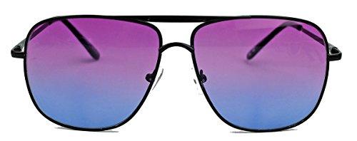 amashades Vintage Classics Old School Brille 80er Jahre Brillengestell Square Aviator Herren Sonnenbrille oder Nerdbrille mit Klarglas F20 (Schwarz/Purple Ombre)