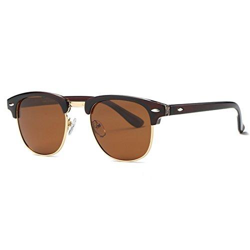 kimorn Polarisierte Sonnenbrille Unisex Retro Halb-Randlos Rahmen Klassisch Eyewear AE0550 (Braun&Gold, 52)