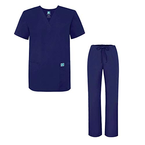 Adar Mens Medical Scrubs Set Medical Uniforms - Roomy Fit - 701 - Nvy -M - Krankenschwestern Uniform Scrub Top