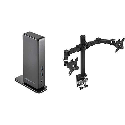 AmazonBasics - Laptop-Dockingstation, Universalmodell, USB 3.0 & Doppel-Monitorständer, höhenverstellbar, Stahl
