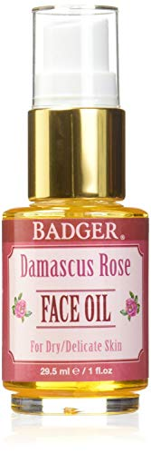 Badger - Face Huile Damas Rose - 1 oz. Anciennement Face Huile Antioxydant Damas Rose avec Lavande & Camomille