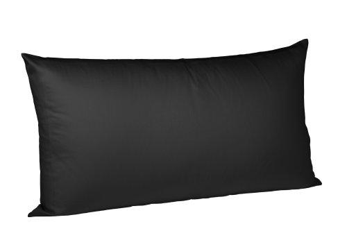 fleuresse Kissenbezug colours 9100-941, 40x80cm, Mako Satin, Farbe Schwarz, 100% Baumwolle, mit Reißverschluss (Großes Kissen Für Die Couch)