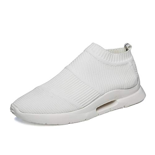 GOLDT1 Sockenähnliche Sneakers für Herren Hohe Elastizität Slip-on-Style-Stoffe Leichte Sportlaufschuhe Offene Zehen- und Knöchelriemenschnalle Flache Sandalen (Color : Weiß, Größe : 40 EU) -