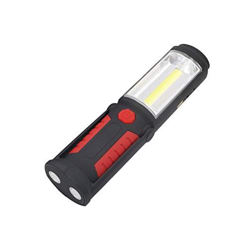 Uonlytech USB Ricaricabile COB e LED USB Torcia elettrica Torcia Lavoro Luce Stand Magnetico con Gancio torce per Esterno (Rosso)