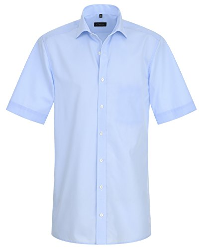 Eterna Half Sleeve Shirt Slim Fit Chambray Uni Hellblau