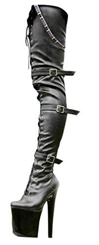EROGANCE Leder Optik Plateau High Heels Crotch Overknee Stiefel A3528L / EU 41 (Crotch Stiefel)