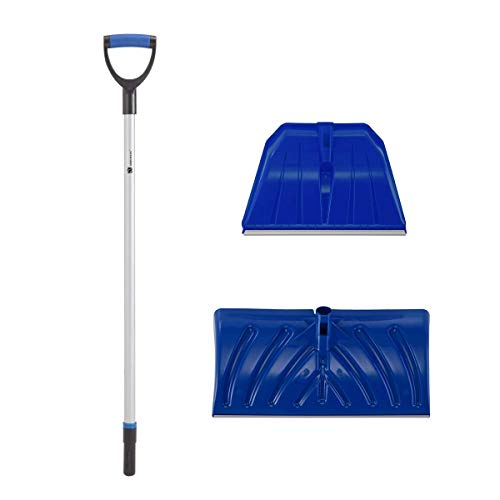 2 in 1 Heavy Duty Plastic Snow Scoop with Replaceable Shovel Head, Utility Shovel with Rubber D Grip Handle (Blue/Silver, Length: 127cm, Scoop Blade: 56x28cm, Shovel Blade: 48.5x32cm)