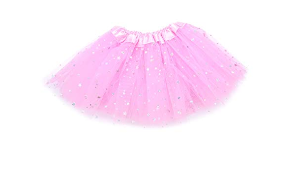 irresistible1 White Fancy Dress Up Triple Layered 20 cm Long Tutu Skirt With Shiny Glitter Stars And Stretchy Waistband In Baby Toddler Size 25-50 cm