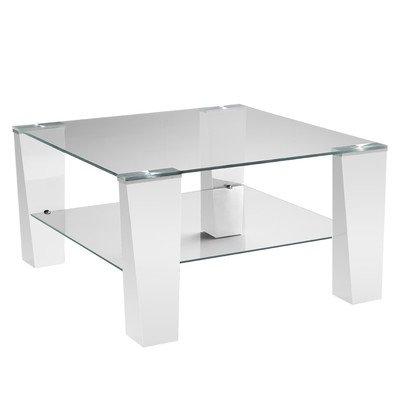 Presto mobilia 11082 Couchtisch, Wohnzimmertisch Becca 08, 78 x 78 x 43 cm, weiß Glas