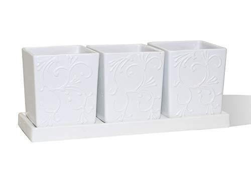 Askovita Blumentopf aus 100% Ton, 27x10x10cm weiß handgefertigt Keramik Blumen Übertopf (VK-Rink-BA-3) Blumen-keramik