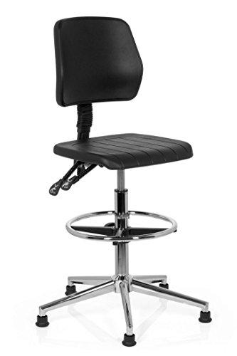 hjh OFFICE 665030 taburete de trabajo TOP WORK 10 espuma rígida negro, con respaldo, estable, base cromada, con tapones, altura ajustable, muy cómoda, fácil de limpiar, silla trabajo, taburete cocina
