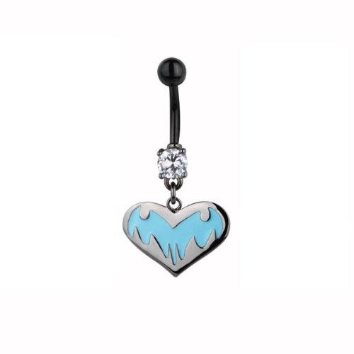 PiercedOff a forma di cuore con Lite Bat ombelico, colore: blu