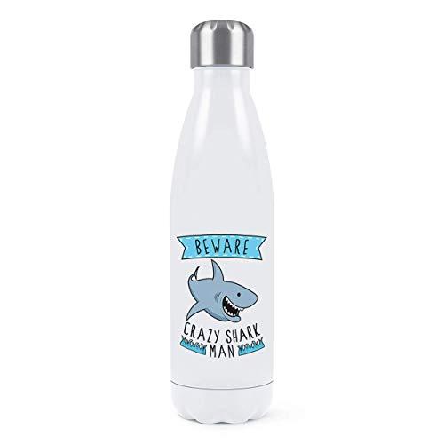 an Doppelwand Wasserflasche Isolierte Edelstahl Sport Getränke 500ml Weiß ()