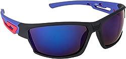 NuVew Mirrored Sports Unisex Sunglasses (Blue Lens) (NW-2089-24-FBLU574)