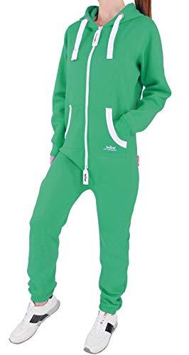 BR4 Finchgirl Damen Jumpsuit Jogging Anzug Trainingsanzug Overall Grün ()