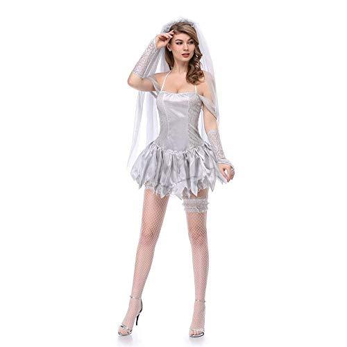 ostüm, Tag der Toten, White Hell, Geisterbraut Kostüm, Dry Corpse Art Photo System, Maskerade-Kostüm, M, Groß ()
