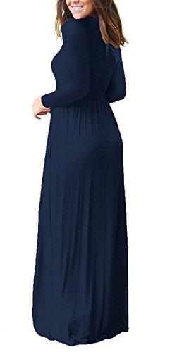 VIISHOW Frauen-lange Hülsen-lose einfache Maxi kleidet beiläufige lange T-Shirt Kleid mit Taschen Navy Blau