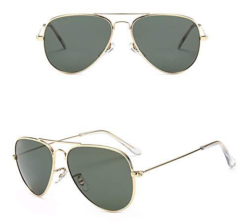 WSKPE Sonnenbrille,Farbe Film Sonnenbrille Unisex Frosch Spiegel Polarisierte Sonnenbrillen Gold Dunkel Grüne Linse Gerahmt