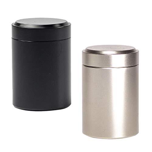 P PRETTYIA 2 x Kaffeedose/Teedose rund & luftdicht, Vorratsdose aus Aluminiumlegierung