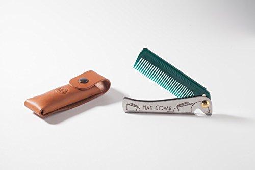 DAFT 'Special Edition' (Dunkelgrün) Man Comb mit Lederetui aus italienischem Leder, faltbarer Taschenkamm aus Metall für Männer mit Bart, Herren-Klappkamm,...