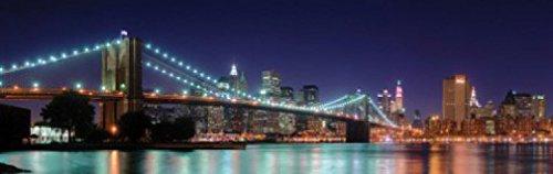 1art1 73716 New York - Panorama Der Brooklyn Bridge Bei Nacht, 1-Teilig Fototapete Poster-Tapete 250 x 79 cm